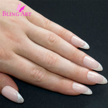 False Nails Bling Art White Hearts Almond Stiletto Long Fake Acrylic Tips Glue