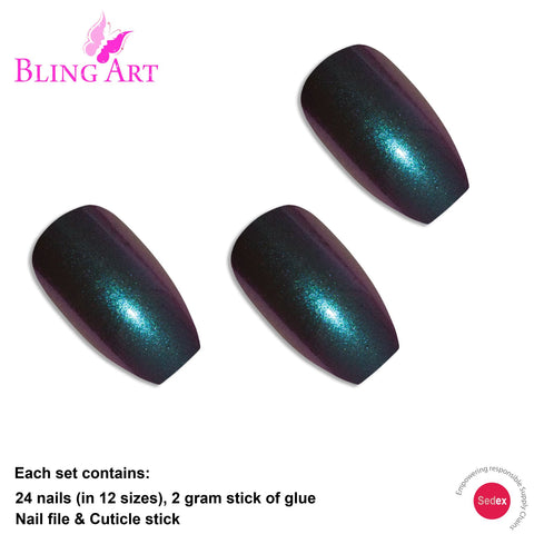 False Nails by Bling Art Green Purple Chameleon Ballerina Coffin 24 Fake Tips - Bling Art