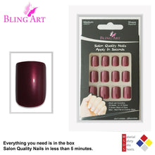 False Nails by Bling Art Red Brown Glitter French Squoval 24 Fake Medium Tips