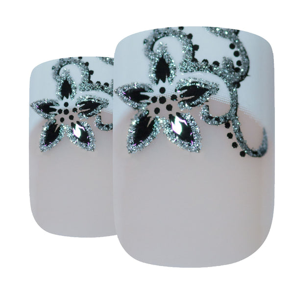 False Nails by Bling Art Black White French Manicure Fake Medium Tips with Glue - Bling Art