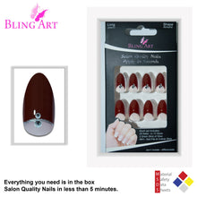 False Nails Bling Art Red Brown Almond Stiletto Long Fake Acrylic Tips with Glue