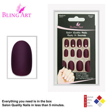 False Nails by Bling Art Red Brown Matte Oval Medium Fake Acrylic Tips Glue - Default Title