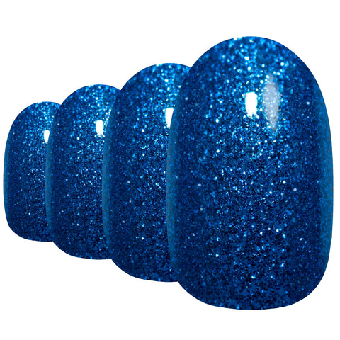False Nails by Bling Art Blue Gel Oval Medium Fake Acrylic 24 Tips with Glue - Bling Art