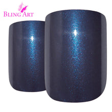 False Nails by Bling Art Grey Glitter French Squoval 24 Fake Medium Acrylic Tips