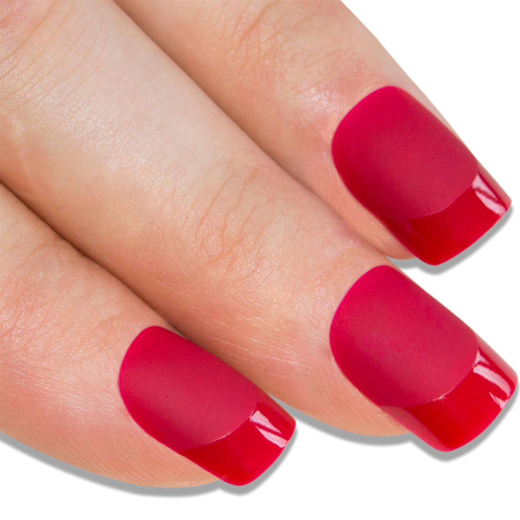 False Nails by Bling Art Red Matte French Manicure Fake Medium Tips with Glue, Nail Care by Bling Art