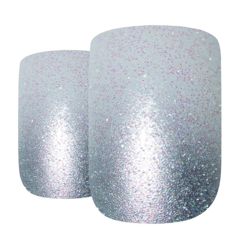 False Nails by Bling Art Silver Gel Ombre French Squoval 24 Fake Medium Tips - Bling Art