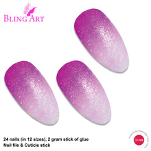 False Nails by Bling Art Magenta Gel Ombre Almond Stiletto Fake Acrylic Tips