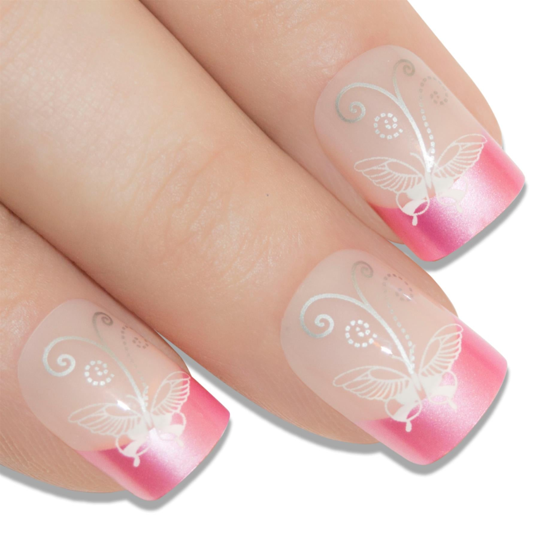 False Nails by Bling Art Pink Flower French Manicure Fake Medium Tips with Glue, Health & Beauty by Bling Art