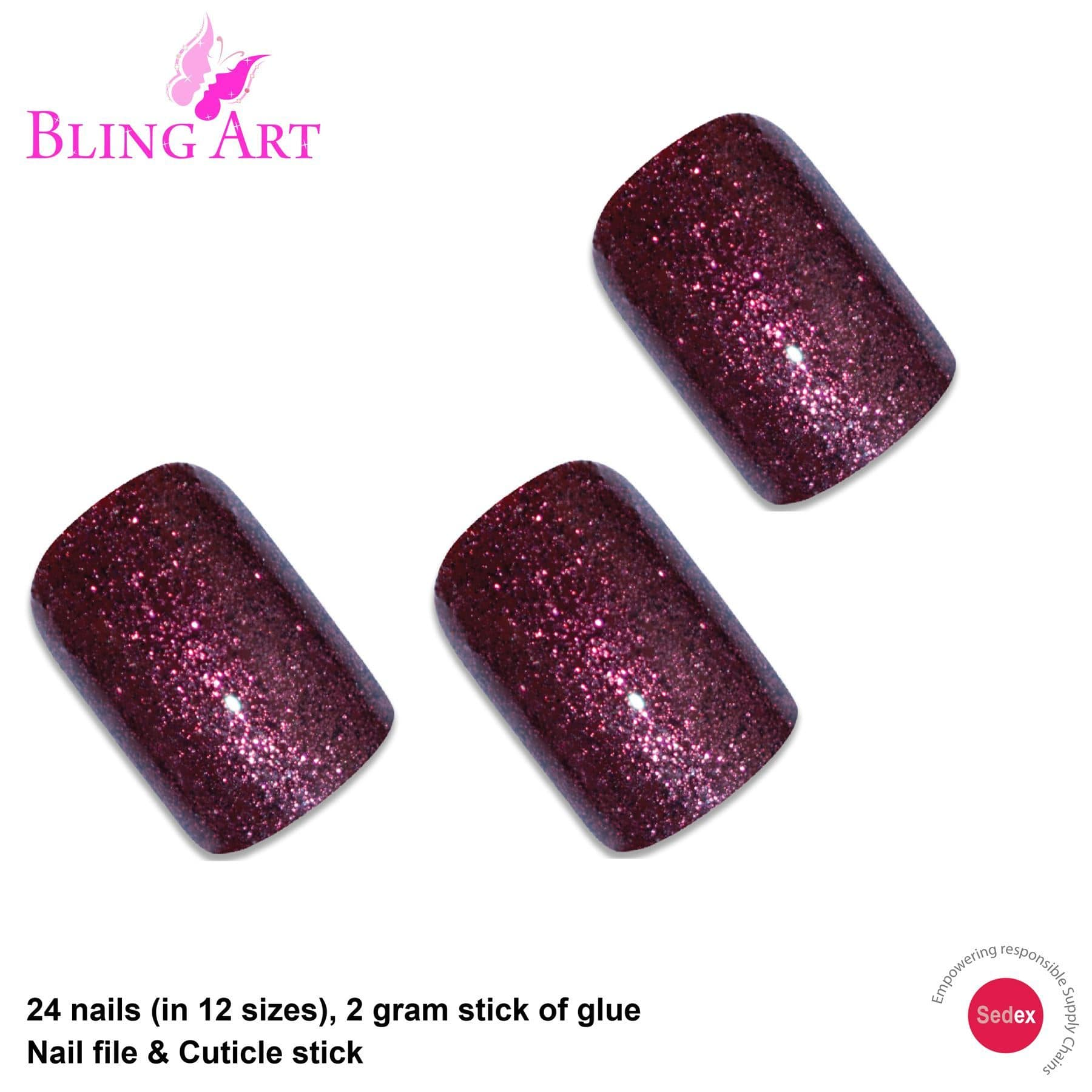 False Nails by Bling Art Red Brown Gel French Squoval 24 Fake Medium Tips