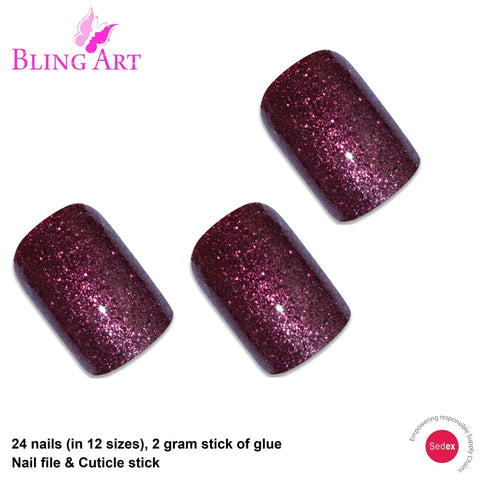 False Nails by Bling Art Red Brown Gel French Squoval 24 Fake Medium Tips - Bling Art