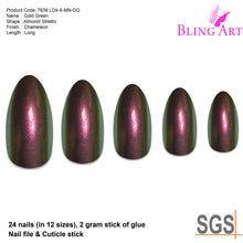 False Nails by Bling Art Gold Green Chameleon Almond Stiletto 24 Fake Tips