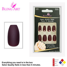False Nails by Bling Art Brown Matte Ballerina Coffin 24 Fake Long Acrylic Tips