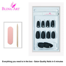 False Nails by Bling Art Black Matte Ballerina Coffin 24 Fake Long Acrylic Tips