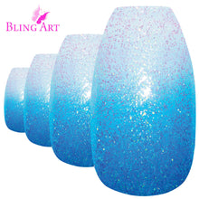 False Nails by Bling Art Blue Gel Ombre Ballerina Coffin Fake Long Acrylic Tips