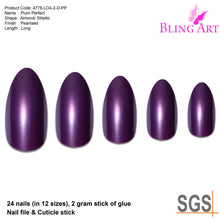 False Nails by Bling Art Purple Polished Almond Stiletto Long Fake Acrylic Tips