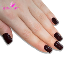 False Nails by Bling Art Brown Acrylic French Manicure Fake Medium Tips with Glue