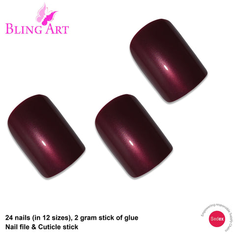 False Nails by Bling Art Red Brown Glitter French Squoval 24 Fake Medium Tips - Bling Art