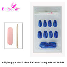 False Nails by Bling Art Blue Matte Metallic Ballerina Coffin Fake Acrylic Tips