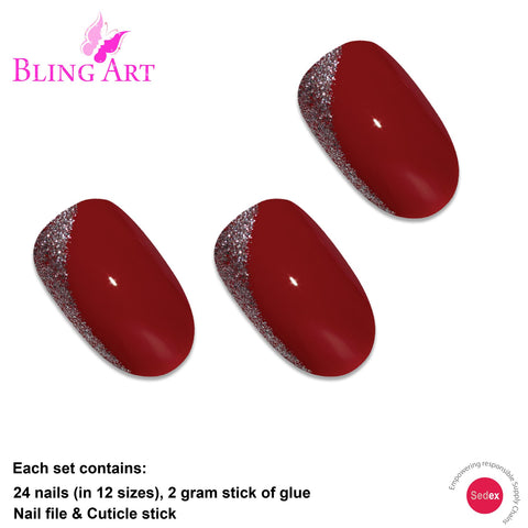 False Nails by Bling Art Red Glitter Oval Medium Fake Acrylic Nail Tips with Glue - Bling Art