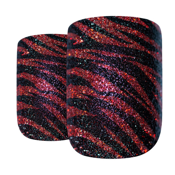 False Nails by Bling Art Glitter Red Black French Manicure Fake Medium Tips Glue - Bling Art