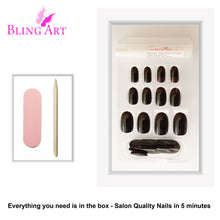 False Nails by Bling Art Black Red Glossy Oval Medium Fake 24 Acrylic Nail Tips