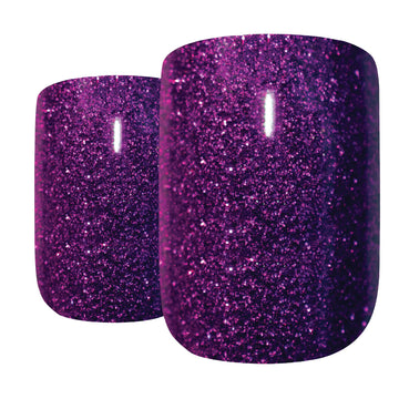 False Nails by Bling Art Purple Gel French Manicure Fake Medium Tips with Glue - Bling Art