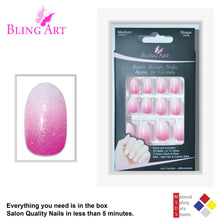 False Nails by Bling Art Pink Gel Ombre Oval Medium Fake Acrylic 24 Tips Glue