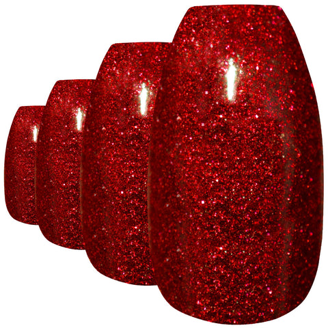 False Nails by Bling Art Red Gel Ballerina Coffin 24 Fake Long Acrylic Tips - Bling Art