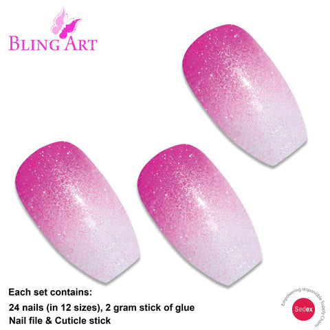False Nails by Bling Art Pink Gel Ombre Ballerina Coffin Fake Long Acrylic Tips - Bling Art