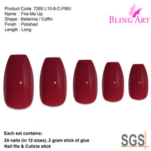 False Nails by Bling Art Red Polished Ballerina Coffin Long Acrylic Fake Tips