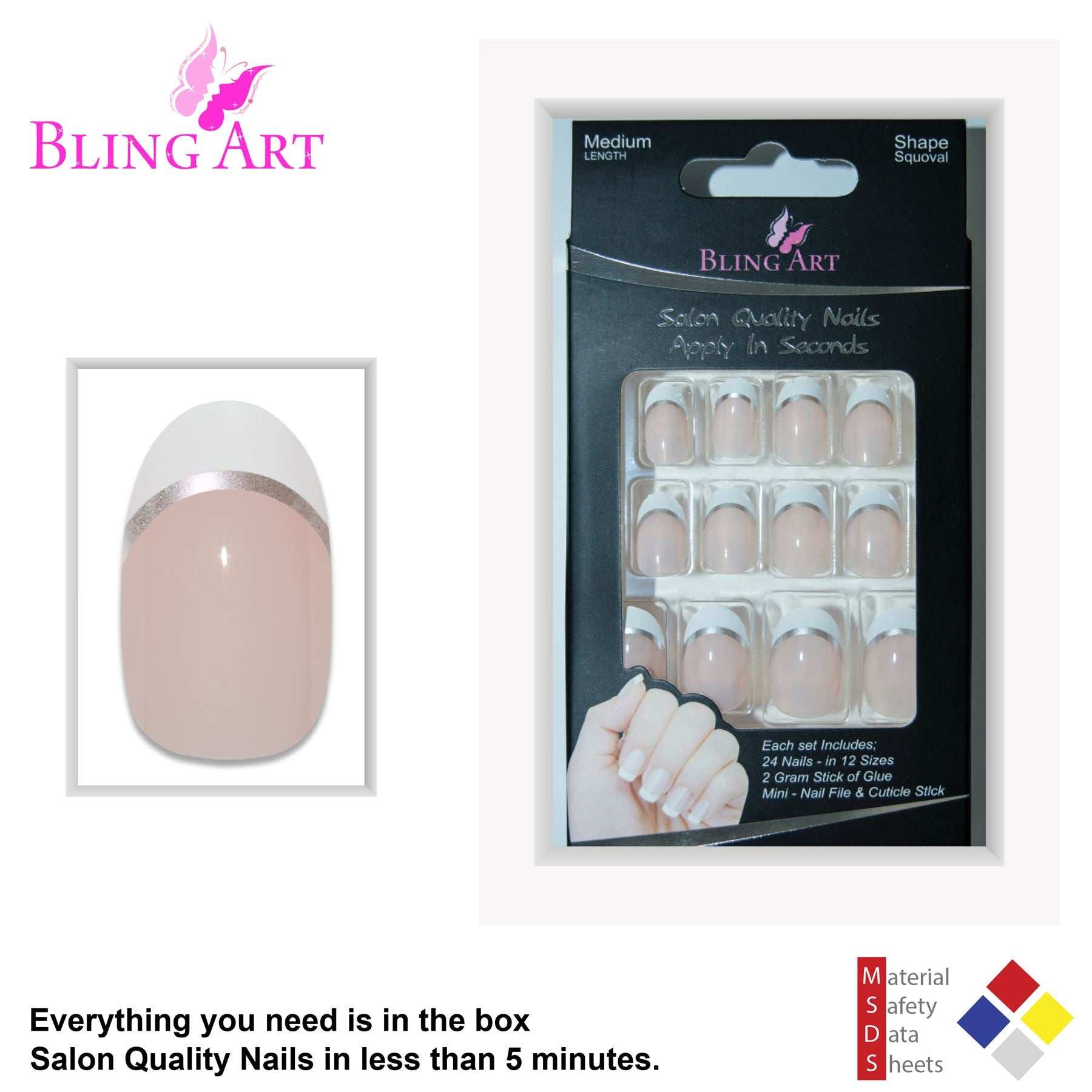 False Nails by Bling Art White Silver Polished Oval Medium Fake 24 Nail Tips