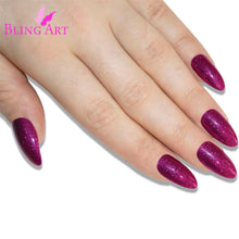 False Nails Bling Art Magenta Gel Almond Stiletto Long Fake Acrylic Tips & Glue