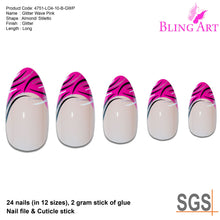 False Nails by Bling Art Glitter Pink 24 Almond Stiletto Long Fake Tips with Glue
