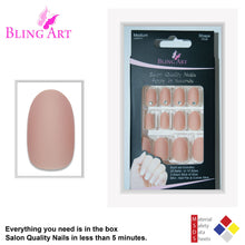 False Nails by Bling Art Beige Matte Oval Medium Fake Acrylic Tips Glue