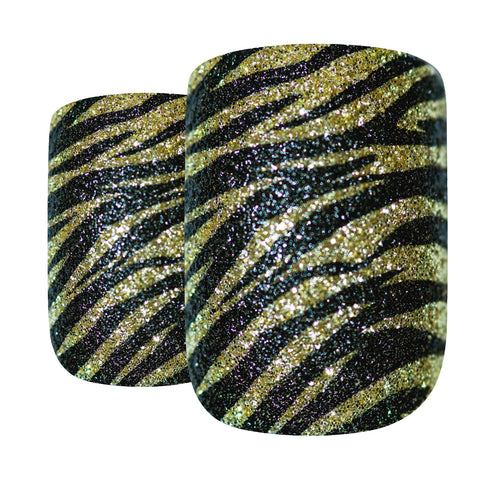 False Nails by Bling Art Gold Black French Manicure Fake Medium Tips with Glue - Bling Art