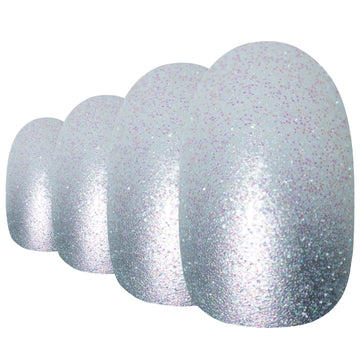 False Nails by Bling Art Silver Gel Ombre Oval Medium Fake Acrylic 24 Tips Glue - Bling Art