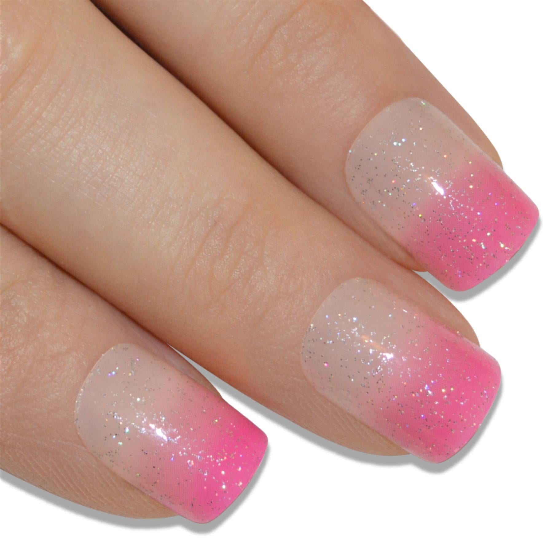 False Nails by Bling Art Pink Glitter French Manicure Fake Medium Tips with Glue, Personal Care by Bling Art