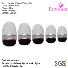 False Nails by Bling Art Black White Glossy Oval Medium Fake 24 Acrylic Nail Tips