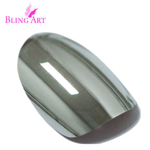 False Nails by Bling Art Silver Chrome Metallic Oval Medium Fake Nail Tips Glue