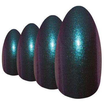 False Nails by Bling Art Green Purple Chameleon Almond Stiletto 24 Fake Tips