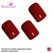 False Nails by Bling Art Red Gel French Manicure Fake Medium Tips with Glue