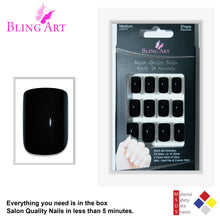False Nails Bling Art Black Polished French Manicure Fake Medium Tips with Glue
