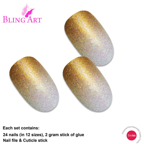False Nails by Bling Art Gold Gel Ombre Oval Medium Fake Acrylic 24 Tips Glue - Bling Art