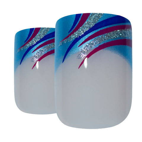 False Nails by Bling Art Glitter Blue French Manicure Fake Medium Tips with Glue - Bling Art