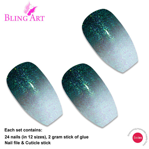 False Nails by Bling Art Black Gel Ombre Ballerina Coffin 24 Fake Acrylic Tips - Bling Art