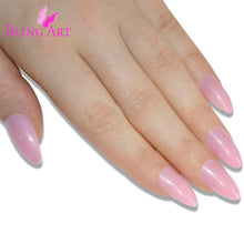 False Nails Bling Art Pink Polished Almond Stiletto Long Fake Acrylic Tips Glue