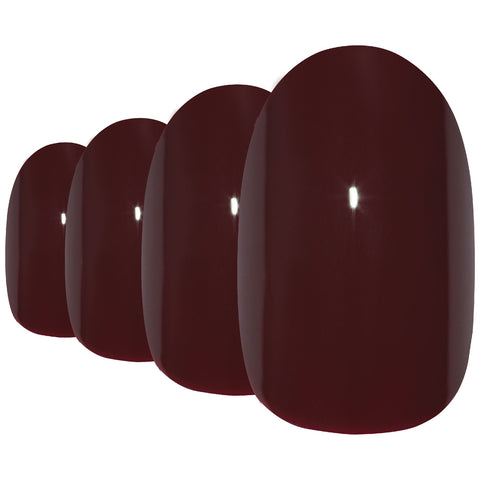 False Nails by Bling Art Red Brown Polished Oval Medium Fake Acrylic Nail Tips - Bling Art