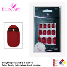 False Nails by Bling Art Red Black Glossy Oval Medium Fake 24 Acrylic Nail Tips