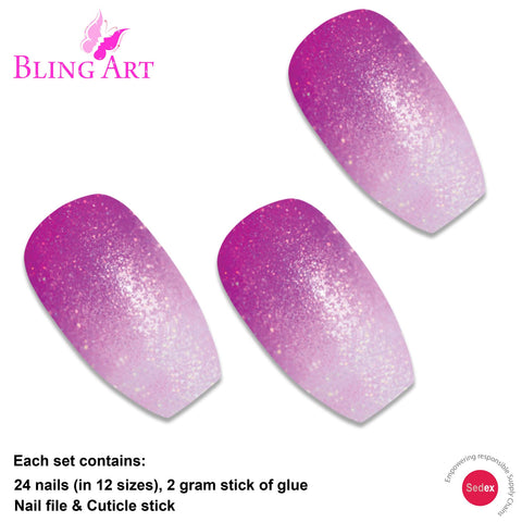 False Nails by Bling Art Magenta Gel Ombre Ballerina Coffin Fake Acrylic Tips - Bling Art