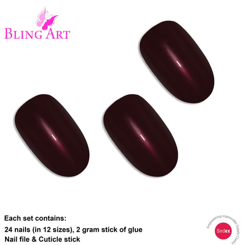 False Nails by Bling Art Brown Glitter Oval Medium Fake Acrylic 24  Tips with Glue - Bling Art